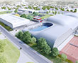 Sports complex of the Trivaux-Garenne campus of Clamart (92), a large curved frame