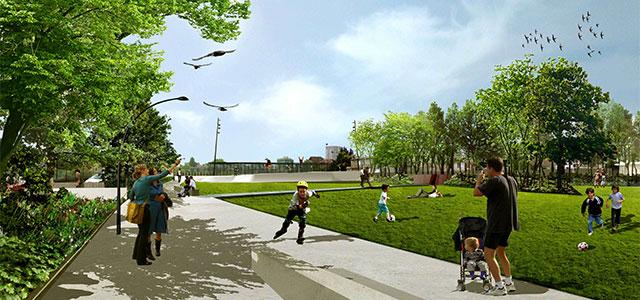 Un parc urbain pour relier l 39 co quartier hoche au for Espace vert urbain