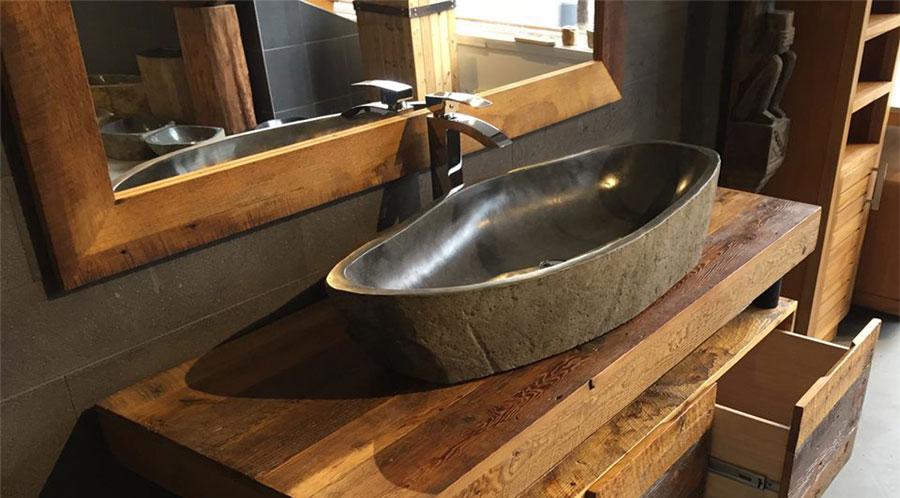 Nouvelle collection de vasques en pierre de rivi re de - Vasque de salle de bain en pierre ...
