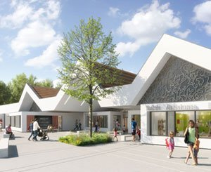 A protective roof made up of Terreal photovoltaic panels for a kindergarten
