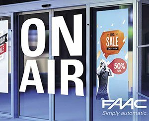 """""""ON AIR"""", the FAAC automatic door that revolutionizes digital signage"""