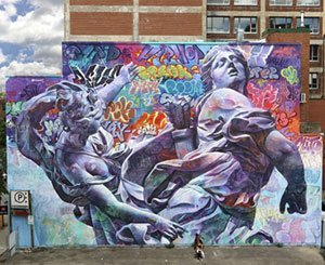 A giant fresco by the Spanish duo PichiAvo inaugurated in the Latin Quarter