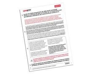 The OPPBTP updates the Guide to health safety recommendations