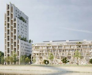 """Beginning of the shell of the """"Link"""" residential building within the """"Les Jetées"""" program in Huningue (68)"""