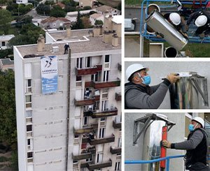 Installation of 2 Therminox exterior conduits culminating at a height of 40 meters