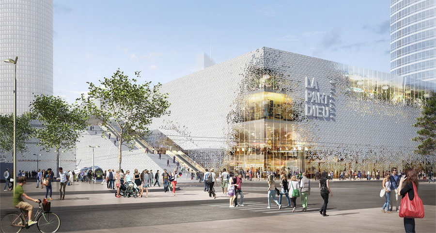 Artist's impression of the La Part Dieu shopping center project in Lyon - © Unibail - Rodamco - Westfield