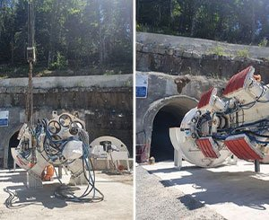 The Gaïa tunnel boring machine for the construction site of the CNR hydroelectric power station in Sarenne (Isère) is named
