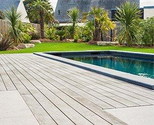 A Kebony wooden pool deck