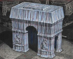 """First """"unrolled fabric"""" for the packaging of the Arc de Triomphe, posthumous work of Christo"""