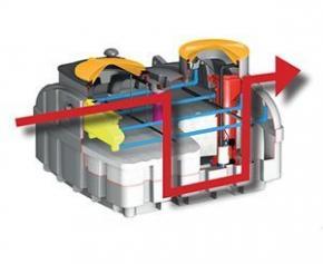 Biomeris P de Sebico, filtre compact sortie haute avec pompe intégrée