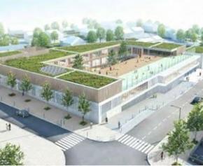 DrainColor® équipe la cour sur toit terrasse de l'école de l'écoquartier de Louvres...