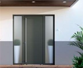 Nouveau concept de portes d'entrée alu et mixte avec ouvrant et dormant affleurant by SYbaie