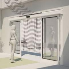 Porte automatique avec rideau d'air intégré