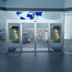 Porte automatique qui révolutionne la signalisation numérique