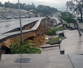 Effondrement d'une partie de la corniche surplombant le fleuve Congo à Brazzaville