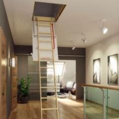 Escalier escamotable avec échelle en bois pliable