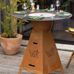 Reversible gas and charcoal brazier-plancha table