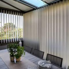 Designer blinds with vertical stripes