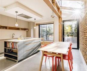 Bright and modern kitchen extension with Hi-Macs®