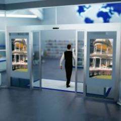Multimedia automatic door with integrated screen