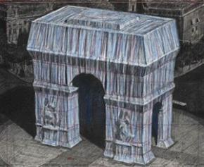 """First """"unrolling of fabric"""" for the packaging of the Arc de Triomphe, work ..."""
