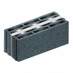 Concrete block with integrated insulation