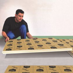 Polyurethane foam insulating plate for thermal and acoustic insulation of floors
