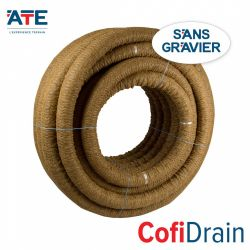 Agricultural drain coated with Coco fiber, very clay soil with iron ocher, without gravel