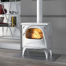 Small retro wood stove with a worked design and made entirely of cast iron