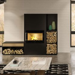 Elegant modular wood stove with modern design