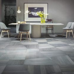 Geometric parquet floor in Linden associated with surprising colors
