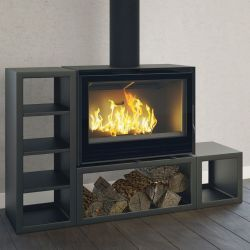Wood stove or insert with different finishes: wooden bench, round base, log, waxed concrete effect
