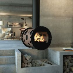 Cylindrical wood stove unique on the market for an original view of the fire on one or two glazed sides